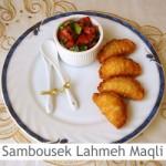 Dimah - http://www.orangeblossomwater.net - Sambousek Lahmeh Maqli