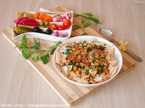 Dimah - http://www.orangeblossomwater.net - Fattet Hummus Bel-Laban 99a