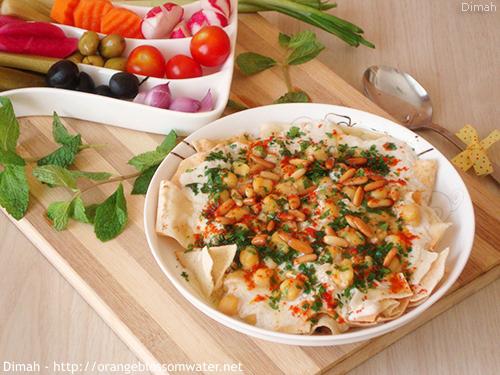 Dimah - http://www.orangeblossomwater.net - Fattet Hummus Bel-Laban 99c